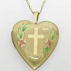 18 Karat Gold Plated Floral Cross Heart Locket