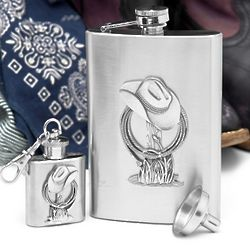 Cowboy Liquor Flask Gift Set