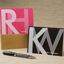Large Monogram Personalized Note Cards