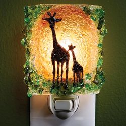 Recycled Glass Giraffes Night Light