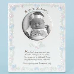 Baby's Baptism Porcelain Photo Frame