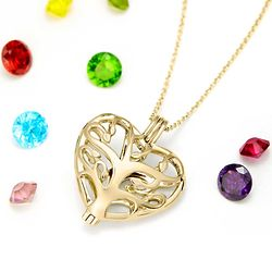 Gold Plated Heart Family Tree 6mm Round Birthstone Locket