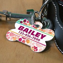 Personalized Paw Print Dog Bone Pet Tag