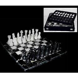 Black & White Zebra Marble Chess Set