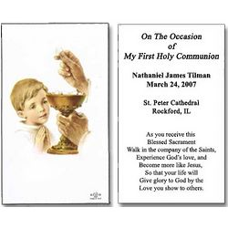 Personalized Boy Receiving First Holy Communion Cards