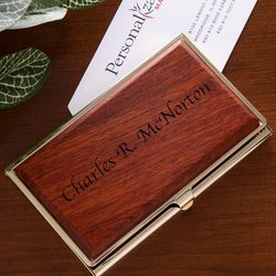 Personalized Rosewood Business Card Case