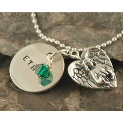 On Angel's Wings Personalized Hand Stamped Necklace