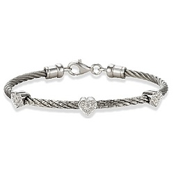 Diamond Hearts on a Stackable Stainless Steel Cable Bracelet