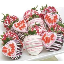 Valentine's Day Love Hearts on Chocolate Covered Strawberries