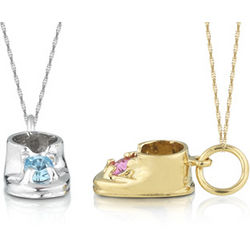 Personalized 10K Gold Baby Shoe Pendant with Birthstone
