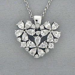Cubic Zirconia Floral Heart Silvertone Pendant Necklace