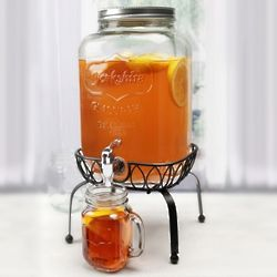 Georgia Peach Mason Jar Beverage Dispenser with Stand