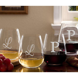 Personalized Stemless Wine Glasses with Initial
