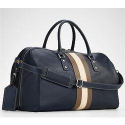 Blue Leather Weekender Bag