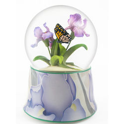 Butterfly Over Irises Musical Snow Globe