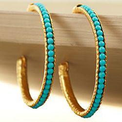 Turkish Blue Moon Turquoise Hoop Earrings