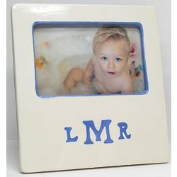 Monogrammed Ceramic Picture Frame with Custom Color