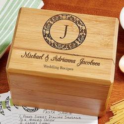 Family Monogram Personalized Wedding Recipe Box