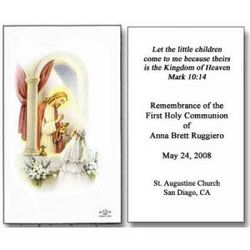Personalized Girl and Jesus First Communion Holy Cards