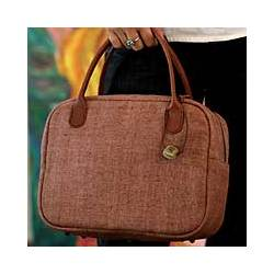 Tailored Chic Hemp and Leather Handbag