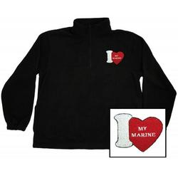 I Love My Marine Embroidered Quarter Zip Fleece Pullover