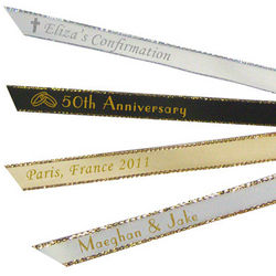 Gold or Silver Edge Personalized Favor Ribbons