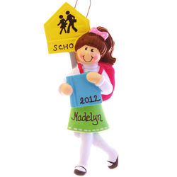 School Girl Backpack & Books Ornament Brunette Hair