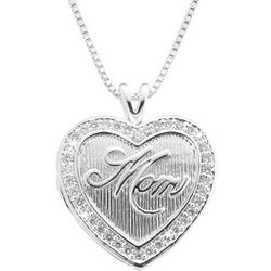 Silver Heart Mom Locket