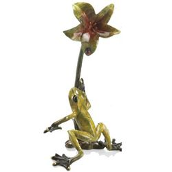 Frog with Flower Sculpture
