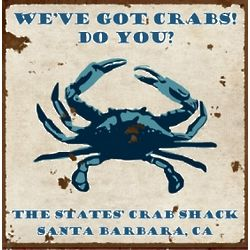 Personalized Vintage Crab Shack Metal Sign