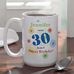 Large Personalized Confetti Birthday Coffee Mug