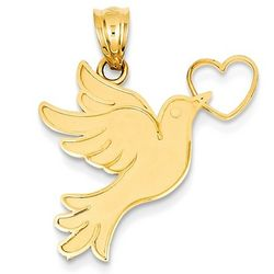 14K Gold Heart Dove Pendant