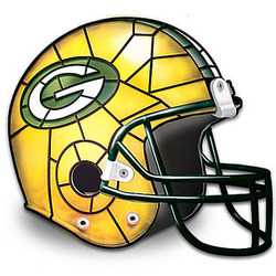 Green Bay Packers Football Helmet Tiffany-Style Accent Lamp