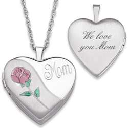 Sterling Silver Engraved Mother's Heart Locket Necklace