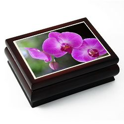 Purple Orchid Tiled Musical Jewelry Box