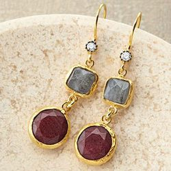 Golden Horn Ruby Quartz Earrings