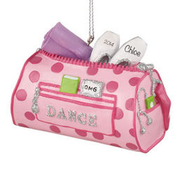 Personalized Dance Bag with Bling Christmas Ornament