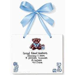 Personalized Blue Teddy Bear Keepsake Tile