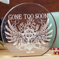 Engraved Gone Too Soon Angel Wings and Cross Plaque