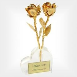 "Two 50th Anniversary 8"" 24k Roses in a Heart Vase"
