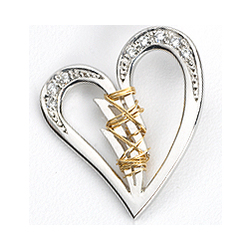 Sterling Silver Broken Heart and CZ Mended with 14k Gold