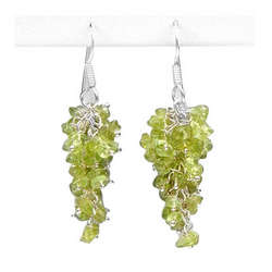 Hand Crafted Peridot Earrings in Silver