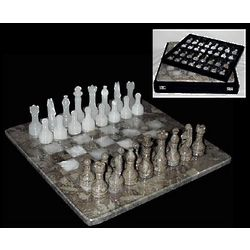 Fossil Marble Chess Set with White Onyx