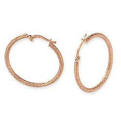 Textured Design 14k Rose Gold Hoop Earrings