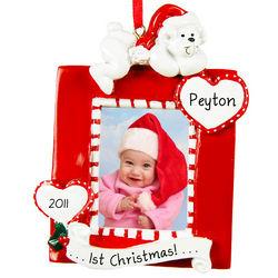 Baby's 1st Christmas Bear Photo Frame Ornament
