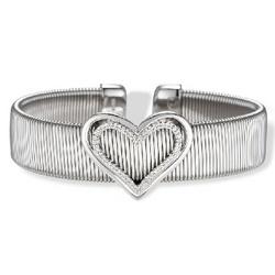 Stainless Steel Diamond Heart Cuff Bangle Bracelet