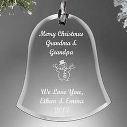 Personalized Glass Bell Christmas Ornament