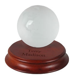 Personalized Glass Globe Award with Rosewood Base