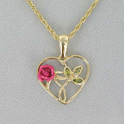 Pink Rose and Goldtone Heart Necklace