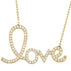 Gold-Plated Script Cubic Zirconia Love Necklace